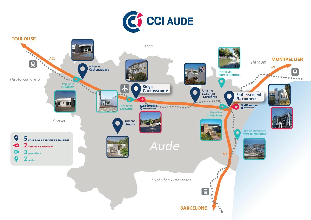 Plan localisation établissements CCI Aude
