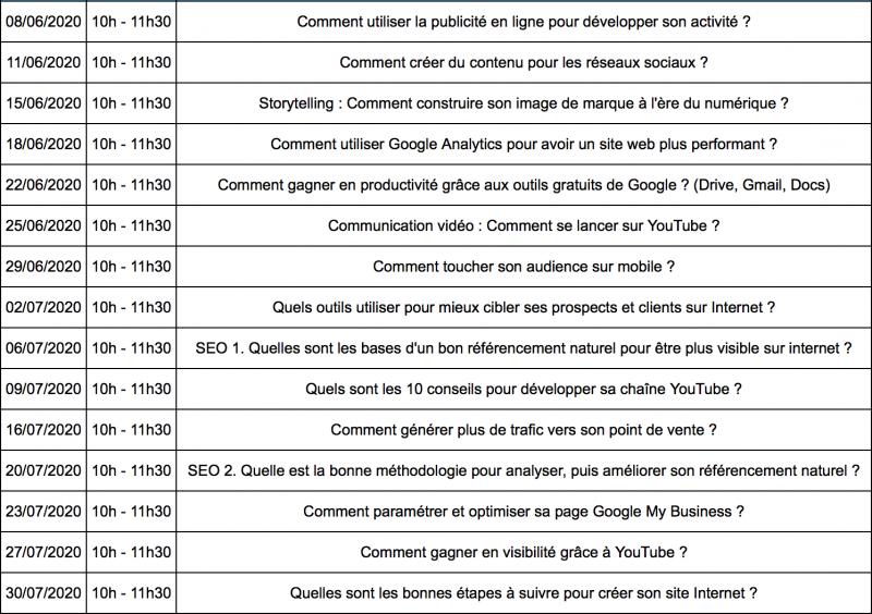 2020 webinaires google programme