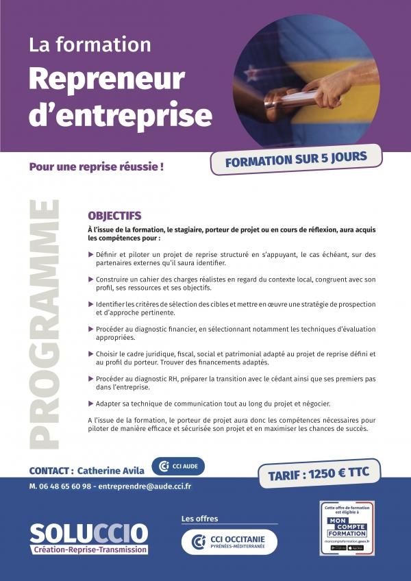 2021 programme Une repreneur CCI Aude