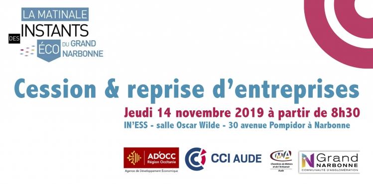 Matinale des Instants Eco : cession & reprise le 14/11/2019