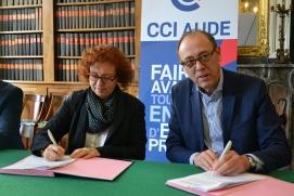 Signature d'une convention de partenariat entre la CCI Aude et Pôle Emploi Aude Ariège